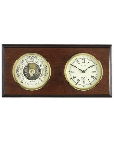 Veneered Barometer and Clock